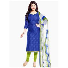 Casual Wear Blue & Green Salwar Suit - 71597