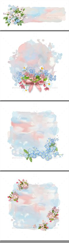 Watercolor Banner with Flowers - Backgrounds Decorative. Floral vector banner. Abstract watercolor splash with flowers