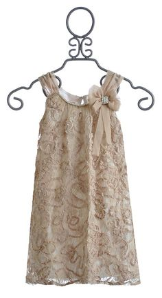 Isobella and Chloe Tea Time Girls Dress in Champagne $62.00