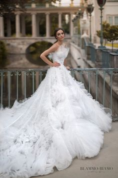 Wedding dress Asta by Blammo-Biamo. Strapless ball gown ruffled skirt embellishes bodice luxury wedding dress. Ship worldwide. Based in Vancouver, Canada.