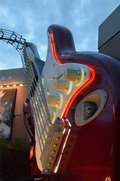 Rock 'n' Roller Coaster Starring Aerosmith - Evening Guitar Glow - Disney's Hollywood Studios - Walt Disney World.