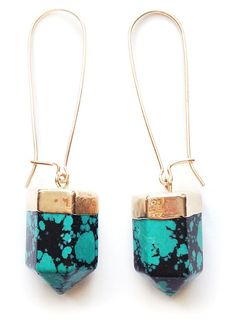 Gold Dipped Turq Dyed Howlite Earrings