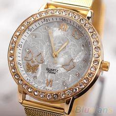 Women's Golden Color Butterfly Face Style Mesh Band Quartz Analog Wrist Watch