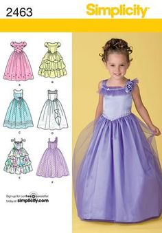 Childs special occasion dress Sewing Pattern 2463 Simplicity. This would make an amazing Halloween costume or Holiday dress!