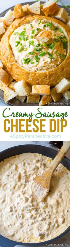 7-Ingredient Creamy Sausage Cheese Dip on ASpicyPerspective.com - An easy to make hot dip with green chiles and sharp cheddar cheese!