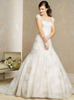 wedding gowns with cap sleeve | Gorgeous Cap Sleeve Wedding Dress