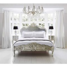 Sylvia Serenity Silver French Bed | Silver Bed. Metallic silver French bed. French bedrooms. Silver interiors.
