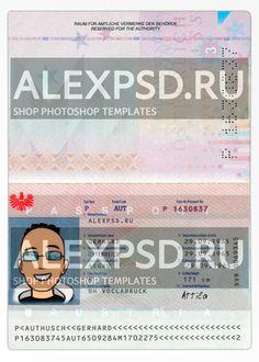 Austria passport - ALEXPSD Passport Template, Psd Templates, Austria, Photoshop, Coding, Author, Names, Personalized Items, Writers