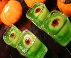 Lime Slime Eyeball Shooters ~ Lychees stuffed with maraschino cherries in Lime Jello - directions at styleathome