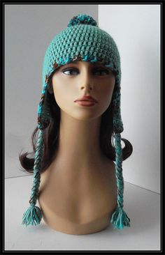 Crocheted Basic beanie with earflaps & pompom hat by ItsNotWeird