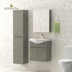Σετ Μπάνιου, Arlene,Κρεμαστό έπιπλο με δύο πόρτες με νιπτήρα 55*45*62, Καθρέπτη Ντουλάπι 52*14*65 (Δύο Πόρτες) Και Κρεμαστή Στήλη 35*30*160, Χρώμα Γκρί (Τσιμέντο) Από την Alphab2b.gr Toilet, Vanity, Bathroom, Dressing Tables, Washroom, Flush Toilet, Powder Room, Vanity Set, Full Bath