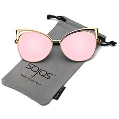 7ac3aa80d1 SojoS Fashion Cat Eye Style Metal Frame Women Sunglasses Lady Glasses  SJ3163 With Gold Frame