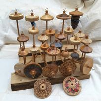 A collection of spindles. Whimsy Wood & Wool, Christchurch, New Zealand. For sale from whimsywood on felt.co.nz