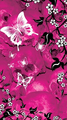 Iphone Wallpaper Designs For Girls Butterfly Wallpaper Iphone, Iphone 5 Wallpaper, Pink Wallpaper, Cellphone Wallpaper, Wallpaper Backgrounds, Wallpaper Ideas, Screen Wallpaper, Butterfly Painting, Butterfly Flowers