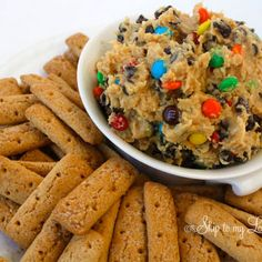 Great for taking to the kid's classes for snack parties....   Monster Cookie Dough Dip Recipe | Key Ingredient