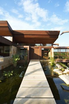 Residential pavilions surrounded by sweeping canyon | #stone #design #architecture
