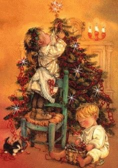 Awhh.. Little children with christmastree.
