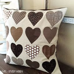 Heart Pillow by Fort Worth Fabric Studio: Fabric Frenzy Friday Burlap Pillows, Cute Pillows, Sewing Pillows, Decorative Pillows, Throw Pillows, Pillow Crafts, Fabric Crafts, Sewing Crafts, Sewing Projects