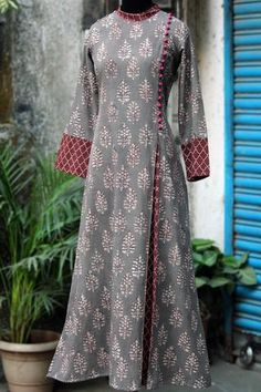 a stunning mughal-styled high collar dress in bagru print & fabric potli buttons! main fabric: handblock printed fabric from natural dyes from bagru, Abaya Fashion, Muslim Fashion, Fashion Dresses, Pakistani Dresses Casual, Indian Gowns Dresses, Kurta Designs Women, Salwar Designs, Designs For Dresses, Dress Neck Designs