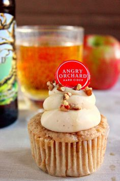 Apple Cider Cupcakes. Husband loves Angry Orchard. Hello, birthday surprise.
