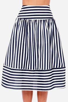 High waist a-line blue and white stripe skirt