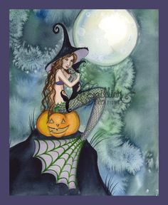 Mermaid Witch with Kitty  and Pumpkin from Original Watercolor Painting by Camille Grimshaw