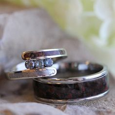 Unique Bridal Set with Meteorite and Dinosaur Bone, Alexandrite Engagement Ring…