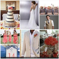 Wedding Colors Navy And Coral Tan Wedding, Summer Wedding, Dream Wedding, Wedding 2015, Wedding Flowers, September Wedding Colors, Second Weddings, Coral Dress, Wedding Inspiration