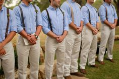 This is so sweet. Suspenders for the groomsmen. Only with grey or navy blue pants with white shirts