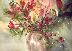 Akwarela kwiaty jesień obraz - JESIENNE BUKIETY (5737322097) - Allegro.pl - Więcej niż aukcje.