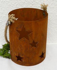 Windlicht Sterne Edelrost 21 cm