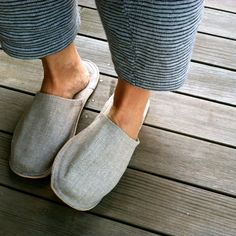 fog linen - linen slippers, natural