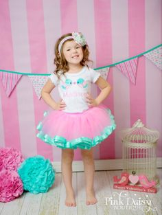 Satin Trim Tutu. Pink and Aqua Ribbon Trim by ThePinkDaisyBoutique, $40.00
