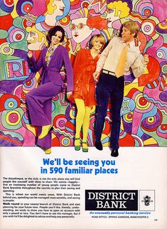 Psychedelic banking! Trippy vintage ad for District Bank, Manchester UK.