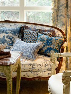 Pretty mix of blue & white pillows & patterns - MaryJane McCarty Design