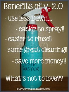 v. 2.0 - I experimented with the Dawn/vinegar cleaner & found that you can use less Dawn & still get the same cleaning power! Plus it's easier to spray and rinse! One part blue Dawn, three parts white vinegar.