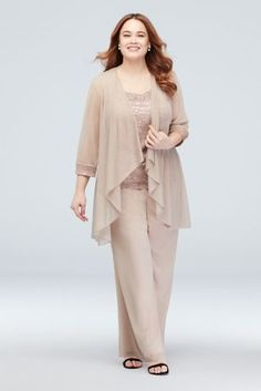 This plus-size statement outfit includes a floating chiffon waterfall-front jacket, a glitter lace tank, and matching pull-on pants. The look comes together with coordinating crystal beaded embellishm Plus Size Cocktail Dresses, Plus Size Formal Dresses, Plus Size Gowns, Tea Length Dresses, Long Dresses, Mother Of The Bride Plus Size, Mother Of The Bride Suits, Dress And Jacket Set, Lace Jacket