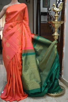 Traditional Soft Silk Solid With Printed Work Saree off) Kanjivaram Sarees, Art Silk Sarees, Traditional Sarees, Traditional Outfits, Indian Dresses, Indian Outfits, Saree Dress, Saree Blouse, Madisar Saree