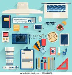 Flat modern design vector illustration concept of office workspace, workplace, desktop.