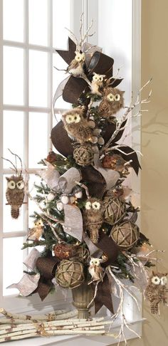 Christmas Decorations and Ornaments, Halloween, & Easter - Trendy Tree -- Owl Christmas tree Owl Christmas Tree, Woodland Christmas, Noel Christmas, Primitive Christmas, Country Christmas, All Things Christmas, Winter Christmas, Natural Christmas Tree, Holiday Tree