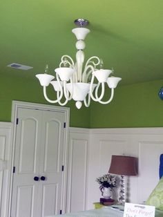 Our bedroom... but a darker green ceiling and no ?wainscotting? ...