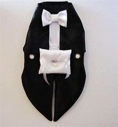 Wedding Dog Tuxedo Harness Vest: Ring Bearer In Black, White or or Ivory Custom Colors and perfect sizing at no extra charge. Wedding Dog Tuxedo Harness: Formal Wear Wedding Dogs Formal Wedding Wear For Dogs dog formal tuxedo Dress him up for your wedding or just a night on the town! Formal fashion meets function. This is a black satin harness that is a swallow tail for that added formality. I can also make this tux in white satin or Ivory! A pillow is attached for your rings or can be le...