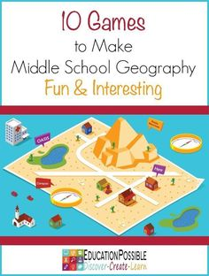 We know students of all ages benefit by adding hands-on learning activities to their geography studies. During the middle school years kids also enjoy exploring fun facts and trivia and games are a fun and effective tool to aid in this type of learning. Geography Activities, Geography Lessons, Teaching Geography, Social Studies Activities, Teaching History, Learning Activities, Geography Classroom, Geography Games For Kids, Geography Worksheets