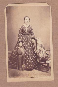 Civil War Era CDV Photo Woman Internal Revenue Tax Stamp Bank Check WISCONSON | eBay. Note the long, plain hat veil.