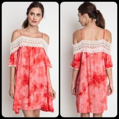 ❗️NEW❗️ Red Tie Dye Crochet Cold Shoulder Dress Adorable cold shoulder style mini dress. Brand new. Available in S M L. Ships 5/27. Dresses Mini