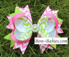 Sweet Pea Pink and Green Chevron Easter Boutique Hair Bow Clip