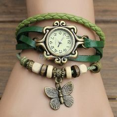 Green Faux Leather Watch Teen Girls Woven Watch by FROSTEDNAILS
