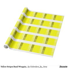 Yellow Stripes Band Wrapping Paper by Janz