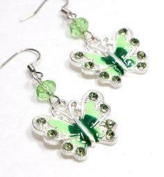 Green Butterfly Earrings with Green Crystal Bead. #butterfly