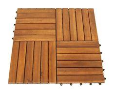 Set Holzfliesen (12 Stück) aus Akazienholz, 30x30cm